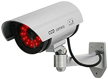 Outdoor fake dummy security camera with blinking amazon outdoor fake dummy security camera with blinking light silver aloadofball Image collections