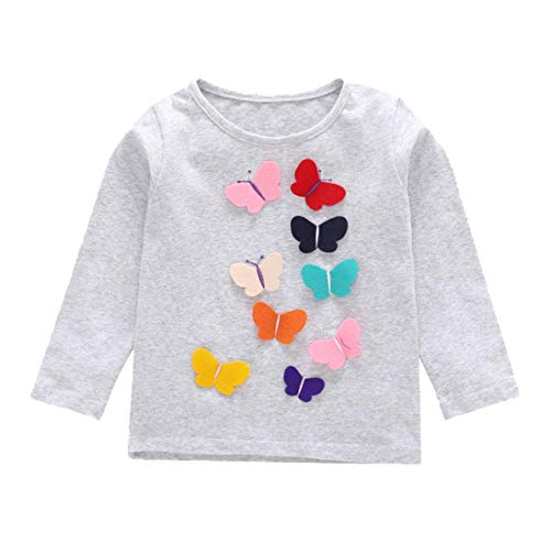 Iuhan  Baby Shirts Tops, 1-4Years Toddler Kids Girls Blouse Long Sleeve Butterfly Applique Tops Shirts Tee Outfits Clothes (4Years, Gray)]()