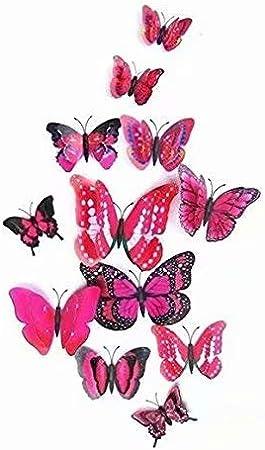 12 stickers Muraux de Papillons 3D Sticker Mural Autocollants bricolage papillon amovible R/éutilisable Pour chambre Salon