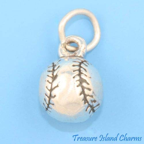 Baseball Softball Solid 3D 925 Sterling Silver Charm or Pendant Crafting Key Chain Bracelet Necklace Jewelry Accessories Pendants