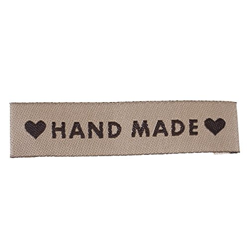 50 Count Handmade Fabric Label Tags with Hearts Light Coffee Color 60mm x 15mm