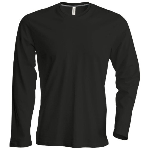 Kariban Herren Long Sleeve Crew Neck T-Shirt Schwarz 2X L