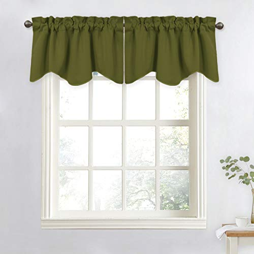 (NICETOWN Small Window Valances for Dining Room - Home Fashion Solid 52-inch by 18-inch Rod Pocket Tiers Valances for Kids Bedroom (Olive Green, Set of 2))