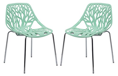 Cheap LeisureMod Forest Modern Side Dining Chair with Chromed Legs – Set of 2 (Mint)