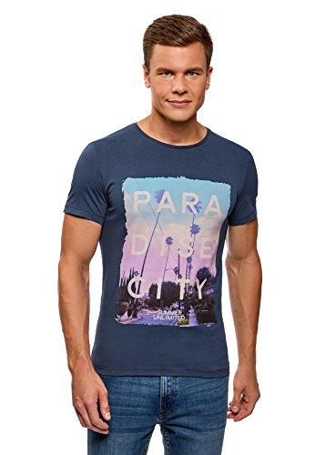 7947p Estival Homme Imprimé Ultra T Bleu Oodji Avec shirt O86xwq