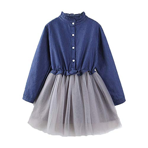 Dress Blue Ruffle Girls (Sinhoon Toddler Baby Girl Ruffle Long Sleeve Denim Princess Tutu Dress (Deep Blue, 100/3-4 Years))