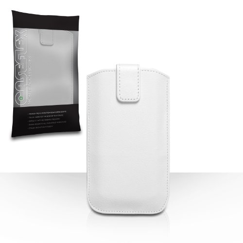 iPhone 4 Tasche Weiß PU Leder Beutel Hülle Caseflex Mit Automatischer Rückkehr Registerkarte