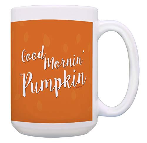 Cute Halloween Cup Good Mornin Pumpkin Fall Coffee Mug Pumpkin Gifts 15-oz Coffee Mug Tea Cup Orange ()
