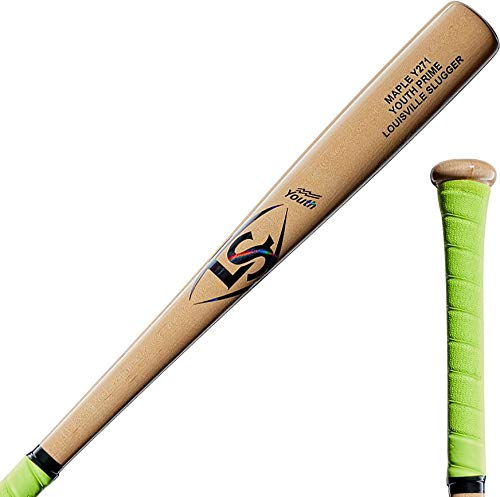 (Louisville Slugger 2019 Youth Prime Maple Y271 Natural Neon Yellow Grip Baseball Bat, 28