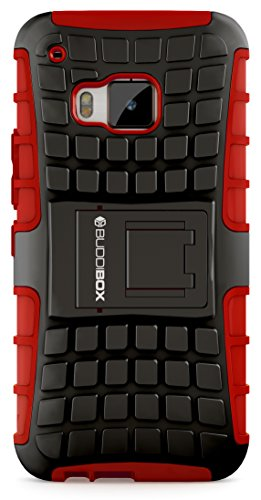 HTC One M9 Case, BUDDIBOX [Wave] Slim Rugged Durable Protective Case with Kickstand for HTC One M9, (Red)