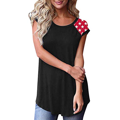 (Whear Women's Short Sleeve Blouse Color Block Casual Basic Round Neck T Shirt with Patchwork Pocket Tunic Tops (Black 2, XXL))