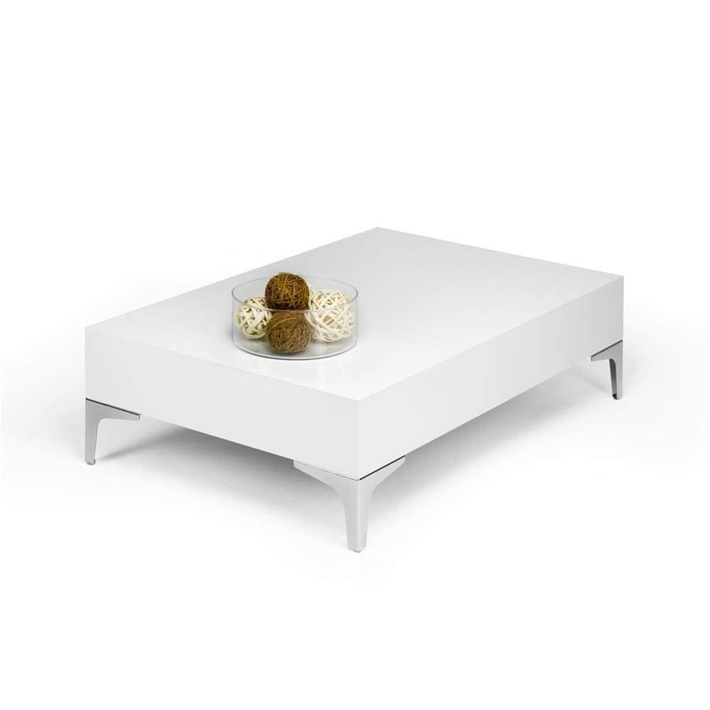 Mobili Fiver Evo Chrome Couchtisch, Holz, Weiß glänzend, 90.0x 60.0x 28.0cm