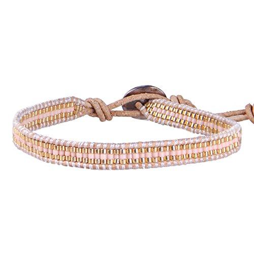 - KELITCH Handmade Wrap Bracelet Fashion Blue Seed Bead Luxury Jewelry (Gold)