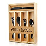 Teivio 20-Piece Silverware Set, Flatware Set Mirror Polished, Dishwasher Safe Service for 4, Include Knife/Fork/Spoon with Bamboo 5-Compartment Silverware Drawer Organizer Box