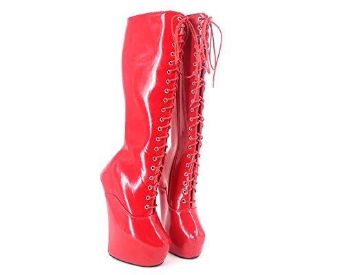 Wonderheel 20cm heelless sexy fétiche rouge plateforme genou lacets bottes cuir verni bottes femme