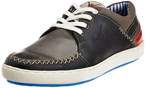 ID Mens Leather Sneakers Charcoal