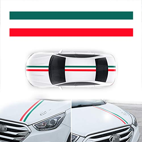 PGONE Length 60-Inch Wide 6-Inch Germany France Italy Flag Stripe Car Hood Body Sticker for Audi BMW Mercedes Mini Porsche Exterior Cosmetic, Hood, Roof, Bumpers Decoration (Italy Flag)