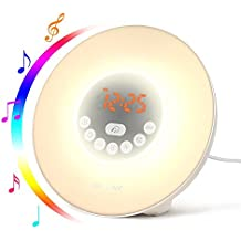 Sunrise Alarm Clock, Digital LED Wake Up Light Alarm Clock Sleep Clock with 6 Nature Sounds, FM Radio, Snooze Function, Touch Control, Brightness Adjustable for Heavy Sleepers, Kids