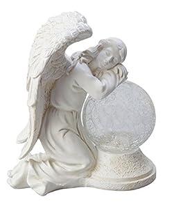 Moonrays 92367 Serene Angel Garden Statue With Crackle Globe U0026 Solar  Powered White Ledstone