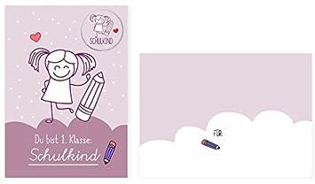 Karte Zur Einschulung.Karte Zur Einschulung Für Mädchen Mit Schulkind Button Und Umschlag Recycling Papier