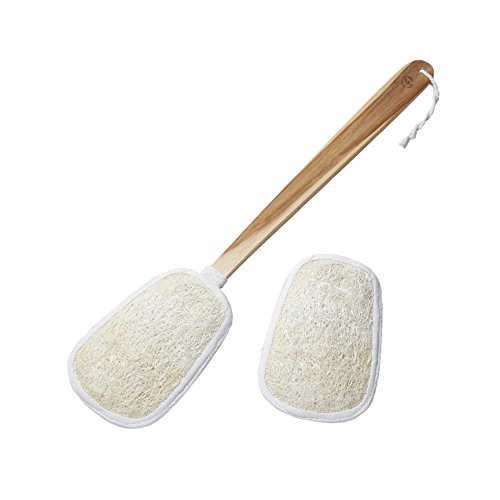 Loofah Back Scrubber on a Stick with 2 Natural Loofah Sponge Pads. 17 inch Long Handle of Genuine Teakwood for Women & Men. Excellent Exfoliating, Relief from Itchy Skin. Top Quality from Faay
