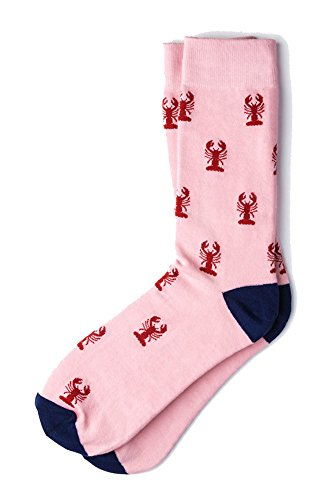 Men's Pink with Red Lobsters Nautical Novelty Crew Dress Socks ()