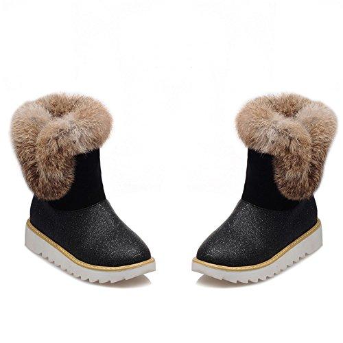 Fashion Heel Womens Round Toe Flat Heel Rabbit Fur Snow Boot Black HKyw7