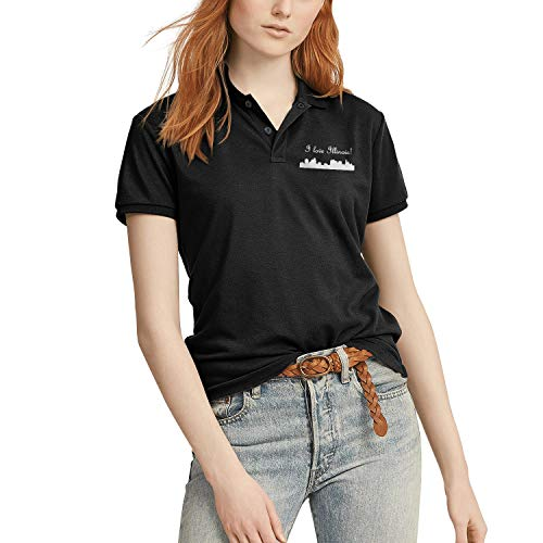 Black Women Polo t-Shirt Solid Blend Basic I Love Illinois Cities White