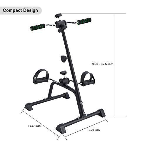 Synteam Compact Exercise Bike Arms and Legs Adjustable Fit Sit Peddler Exerciser for Elder (Black) by Synteam (Image #5)