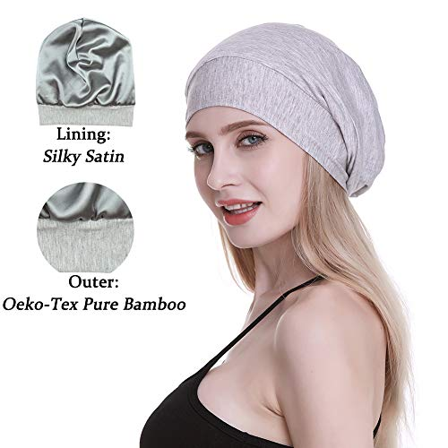 Cute Slouchy Cap for Long Hair Girls Fashion Satin Lined Sleep Beanie Public -