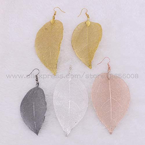 Natural Leaf Specimens Dangle Earrings | Mix Colors Metal Plated Drop Earrings | Fashionable Women's Colorful Leaf Earrings Jewelry
