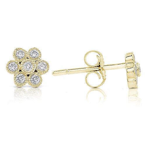 Diamond Floral Stud Earrings 1/6 Carat (ctw) in 14k White (Diamond Floral Stud)