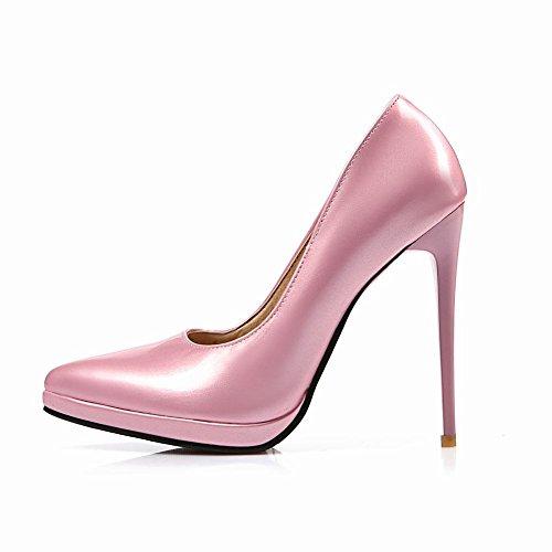 MissSaSa Damen modern high heel Plateau Pointed Toe Lackleder Pumps mit Stiletto Rosa-Pink