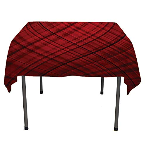 Red and Black Checked Tablecloth Scottish Kilt Design Pattern with Stripes Lines Squares Ombre Image Burgundy and Scarlet Coloring Table Cloths Spring/Summer/Party/Picnic 70 by 70 ()