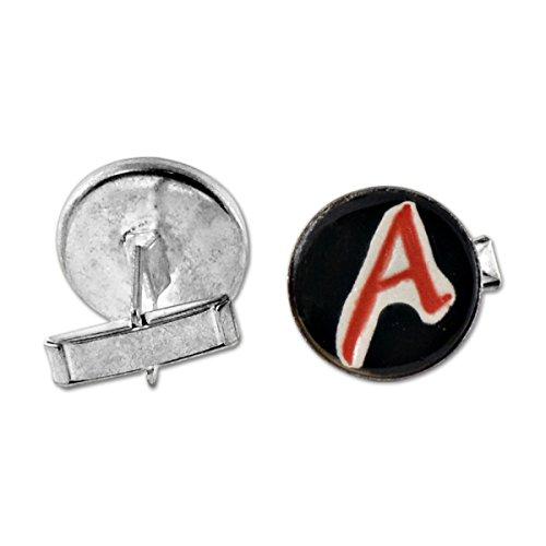 EvolveFish Dawkins A for Atheist Ceramic Silver Cufflinks - 3/4