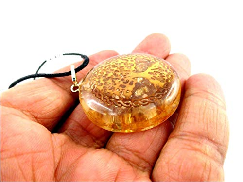 Orgone Key Chain - HiJet Beautiful Citrine Tree of Life Orgonite Key Ring Orgone Generator Balancing Positive Energy Harmony Luck Yoga Meditation Reiki Natural Genuine Authentic Fashion Style