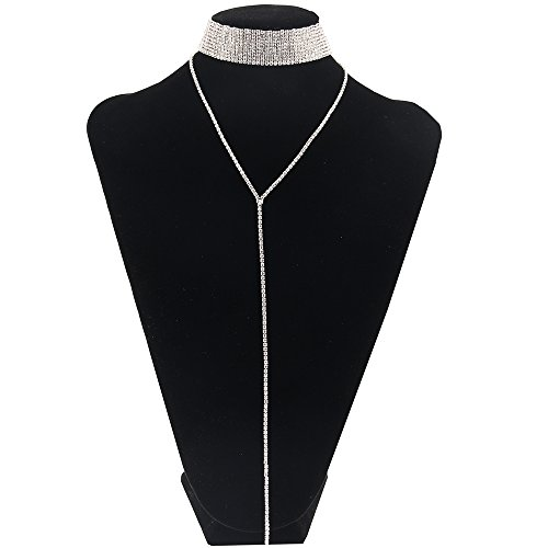 Choker Style Necklace (Womens New Fashion Necklace, Choker Style with Long Dropping Chain Extension)
