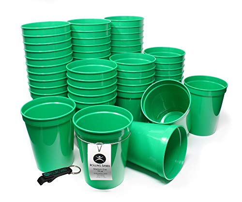 Rolling Sands 16oz Reusable Plastic Stadium Cups Green (50 Pack, Made in USA, BPA-Free) Dishwasher Safe Plastic Tumblers and Bottle Opener