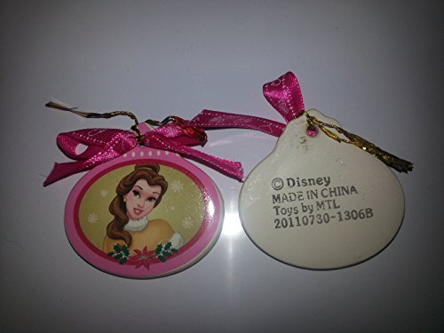 Disney Belle Christmas Ornament - Oval Porcelain with Pink Ribbon