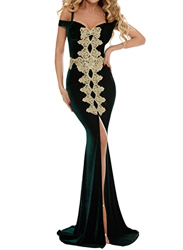 Women's Elegant Cold Shoulder Embroidered Split Mermaid Evening Dress Formal Long Maxi Party Prom Gowns Green S 4 6 (Prom Gown Slim)