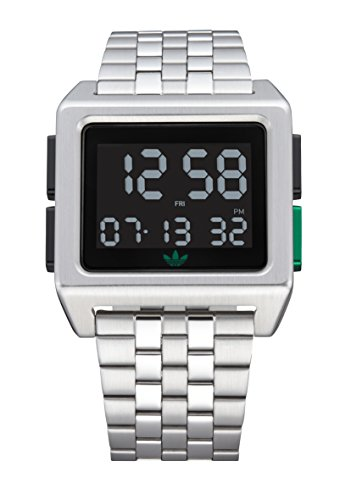Adidas Watches Archive_M1. Men's 70's Style Stainless Steel Digital Watch with 5 Link Bracelet (Silver/Black/Green. 36 mm). -