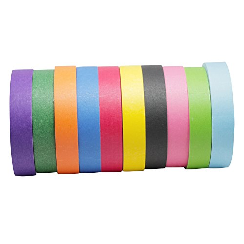 Colored MaskingTape for Kids (10 Rolls Variety Pack)|Colorful Paint Tape for Art and Craft Projects or Painting|Cute, Bright Colors Purple, Green, Pink, Black, Blue, Red, Yellow, Orange|1