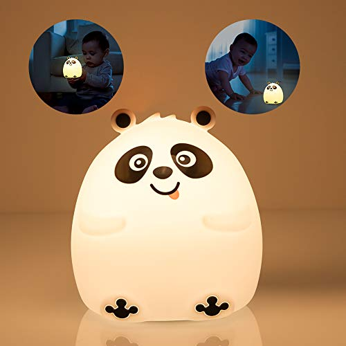 Night Lights for Kids, Mubarek Nightlights for Children,Cute Bear Animals Nursery Soft Silicone Toddler Lamp for Girls/Baby, Portable Travel Rechargeable Color Changing Child Light, Birthday Gifts (Panda Bear Lamp)