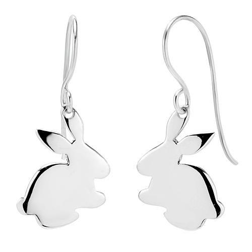 925 Sterling Silver Bunny Rabbit Dangle Hook Earrings