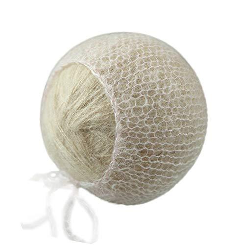 D&J Newborn Baby Photo Prop Hand Knit Mohair Baby Bonnet (Light ()