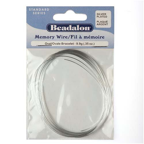Beadalon Memory Wire Oval Bracelet Silver Plated, 0.35-Ounce (Pkg Approx 23 Loops)