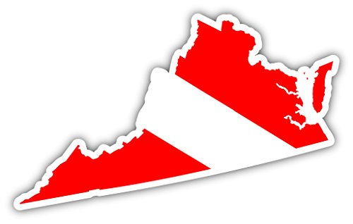 (Virginia State Shaped Scuba Diver Scuba Diving Dive Down Flag Bumper Sticker Decal Car Window Stickers 3x5)