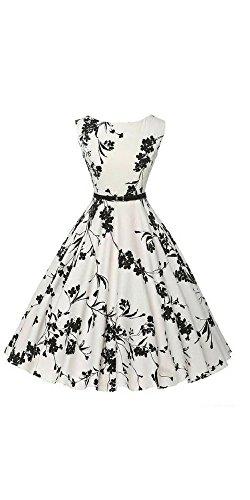 (Women Boatneck Sleeveless Vintage Dress 50s 60s Floral Tea Dress with Belt)