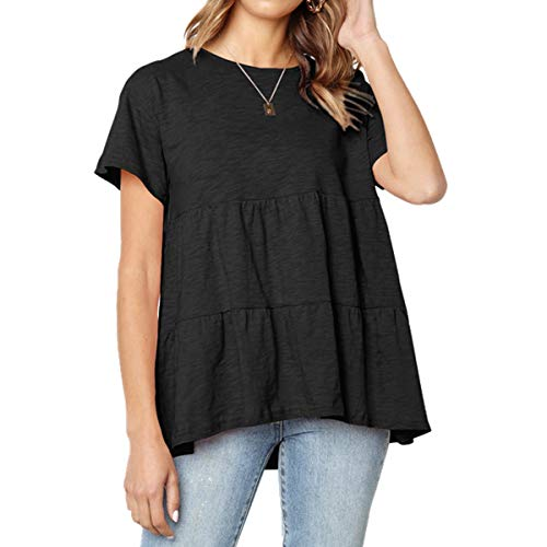 INIBUD T Shirts for Women Short Sleeves Tops Crinkled Doll Tiered Bottom Loose Casual Tunic Blouse (Black, L)