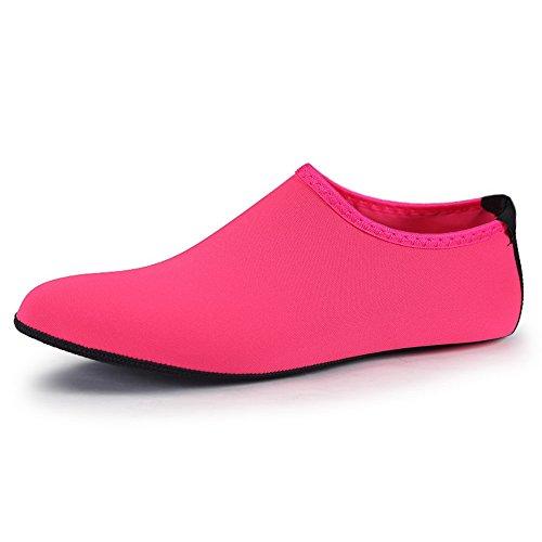 Hombres Mujeres Zapatos De Agua Calcetines Antideslizantes Aqua Zapatos Deportivos Atléticos Para Piscina De Playa Mar Color De Rosa Rojo